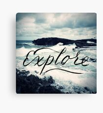 Explore Beach Wave Ocean Typography Photo Canvas Print