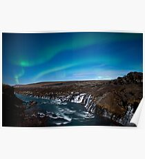 Northern lights - aurora borealis - Iceland - Waterfall Poster