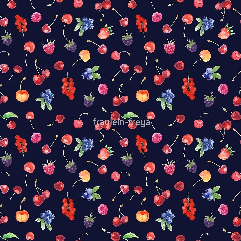 Sweet summer berries pattern on the dark blue background by fraulein-freya