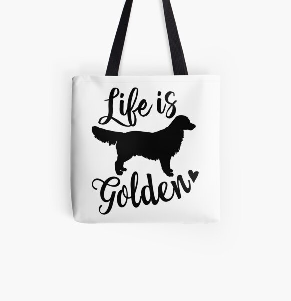 Life is Golden, Golden Retriever Dog All Over Print Tote Bag