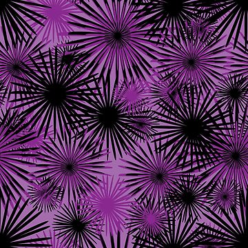 black and purple firecracker floral by debrisnyc