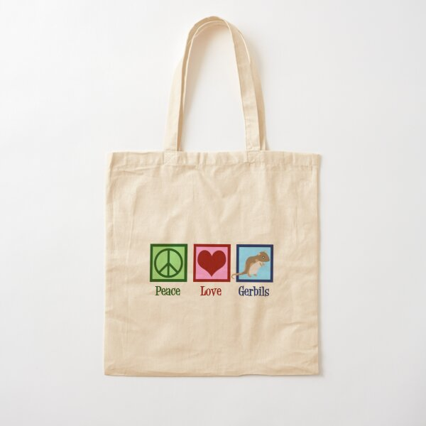 Peace Love Gerbils Cotton Tote Bag