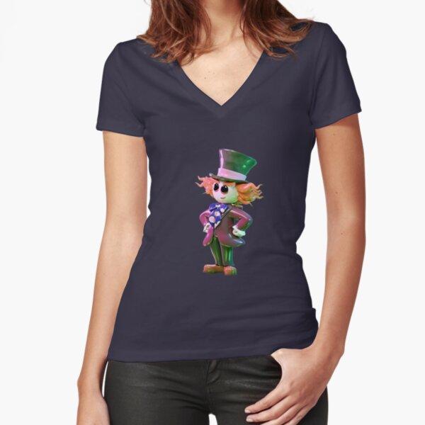 Mad Hatter 3D V2 Fitted V-Neck T-Shirt