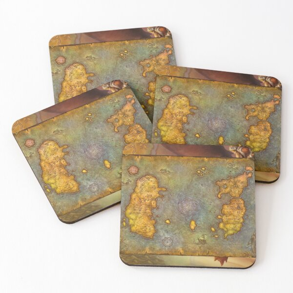 WoW Classic Map Poster Tapestry Coasters (Set of 4)