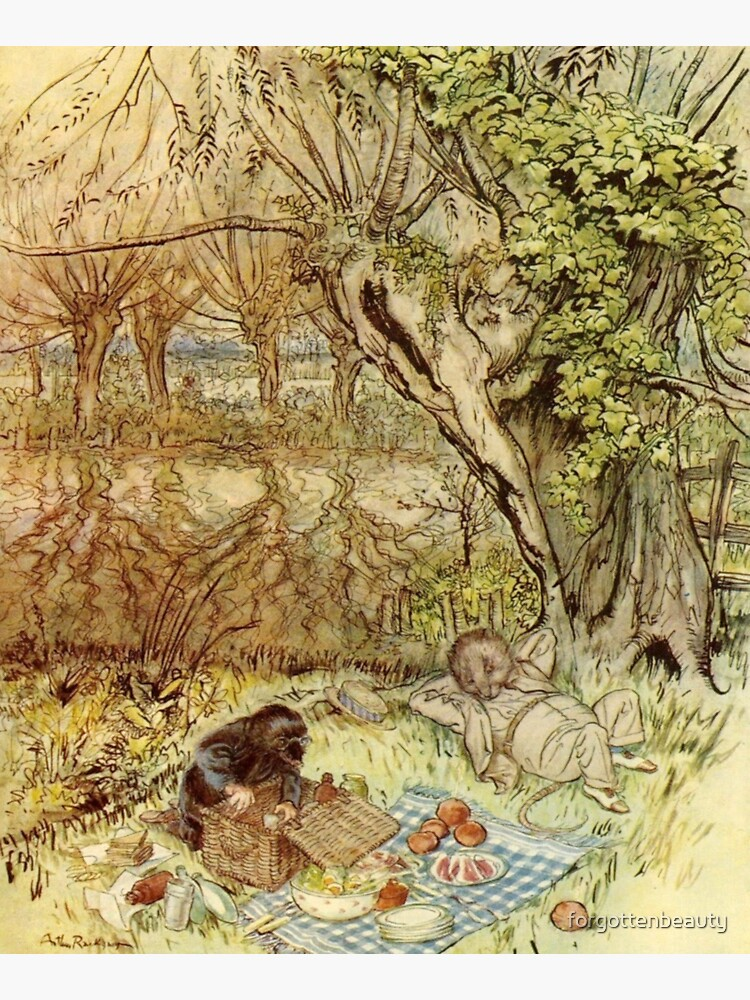 Rat and Mole Have a Picnic - The Wind in the Willows - Arthur Rackham by forgottenbeauty