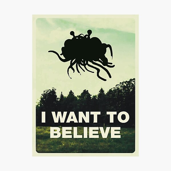 Flying Spaghetti Believing Photographic Print