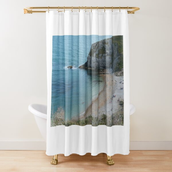 Swimming at Lulworth Cove Near Durdle Door Shower Curtain