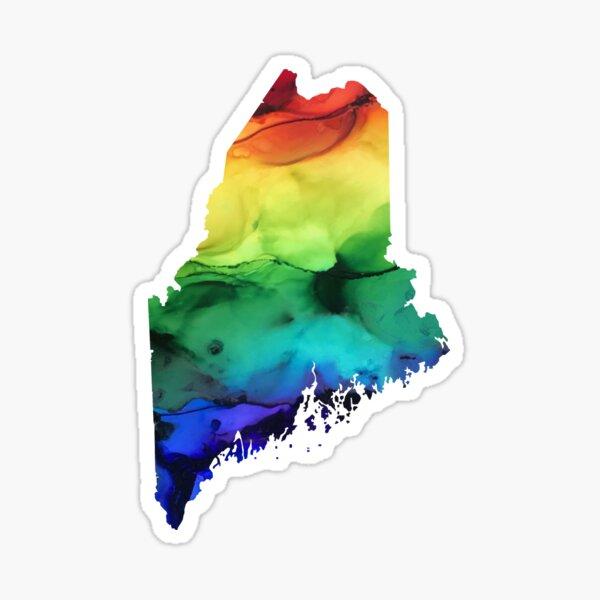 Maine State sticker- Alcohol Ink  Sticker