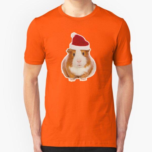 Christmas Guinea pig in Santa's hat Slim Fit T-Shirt
