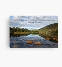 He will quieten you with his love Canvas Print
