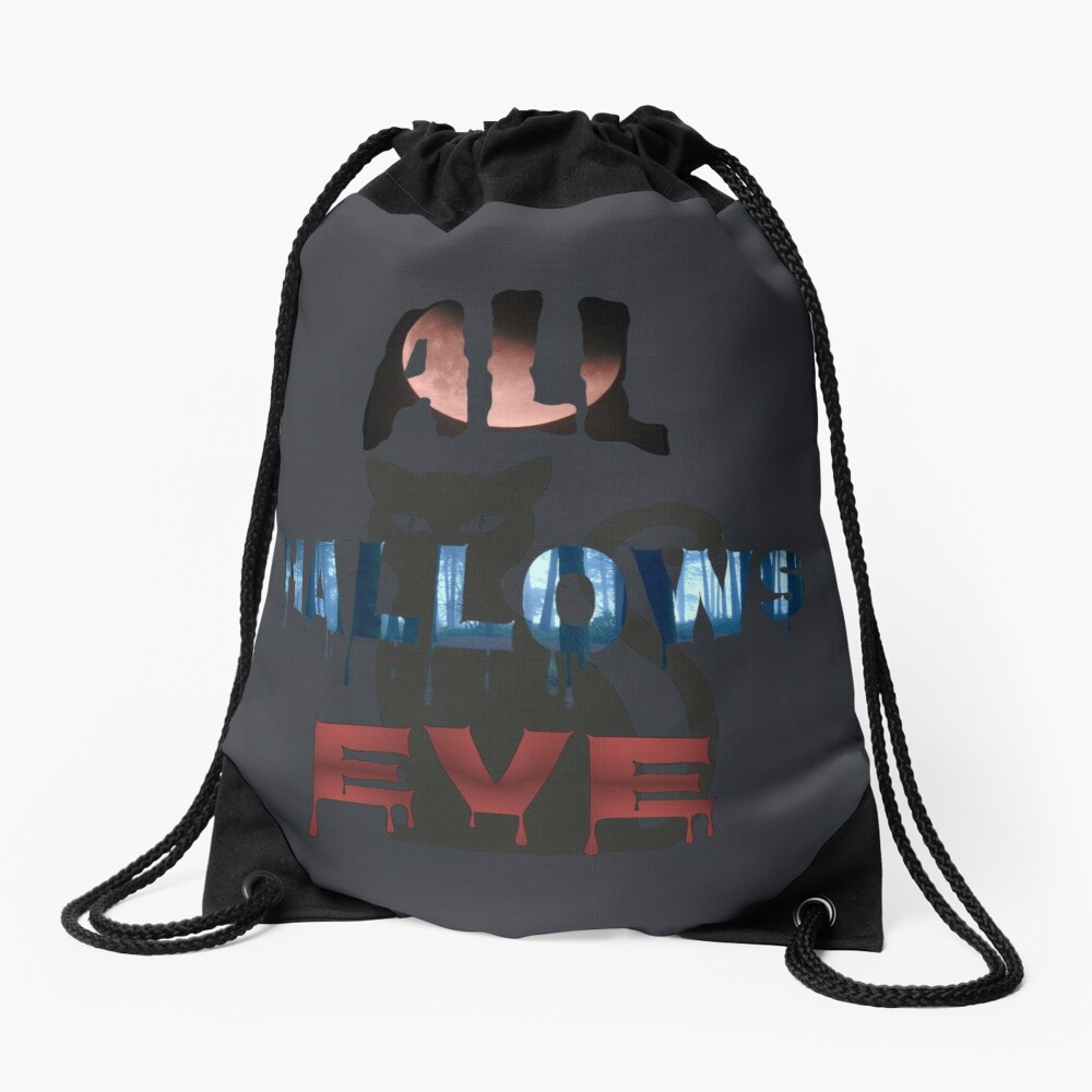 All Hallows Eve Halloween Cat Drawstring Bag