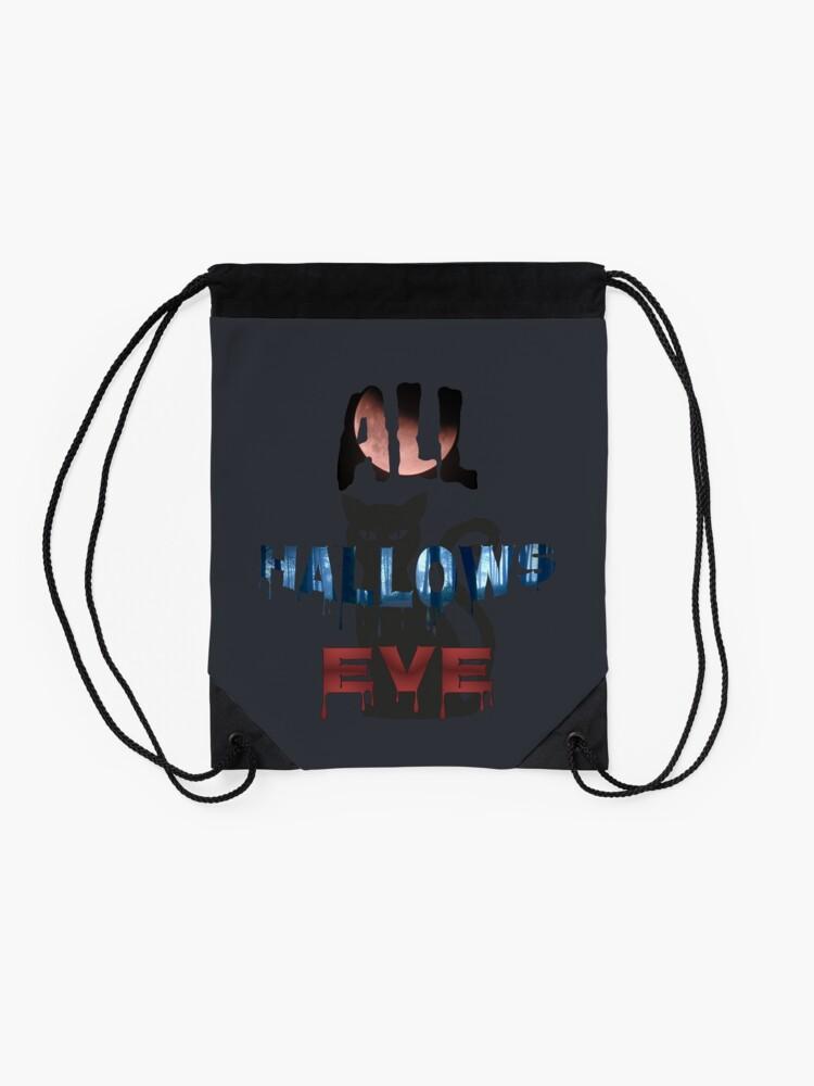 Alternate view of All Hallows Eve Halloween Cat Drawstring Bag