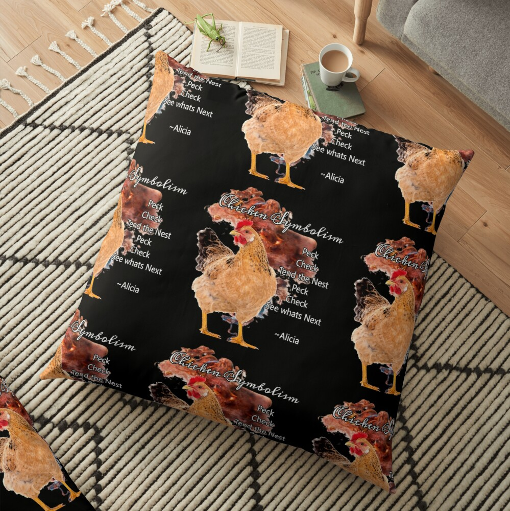 chicken Symbolism Totem Guide Floor Pillow
