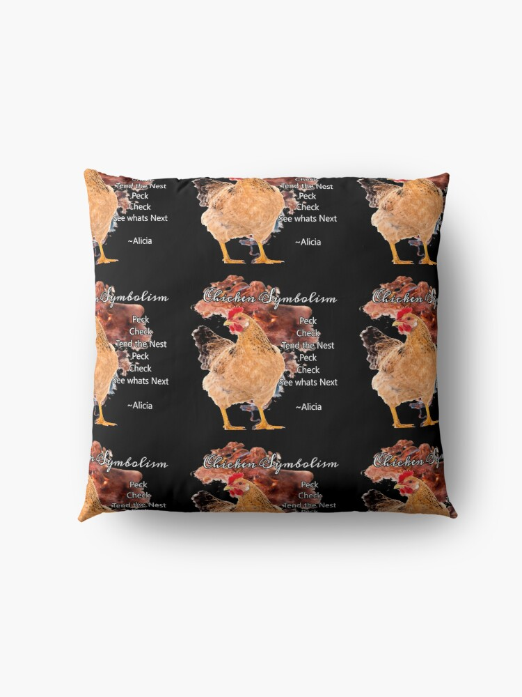 Alternate view of chicken Symbolism Totem Guide Floor Pillow