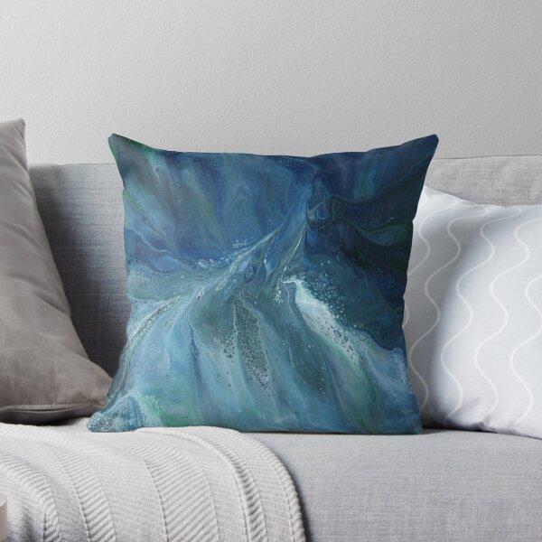 Wave Over Sandbank: fluid acrylic pour painting Throw Pillow