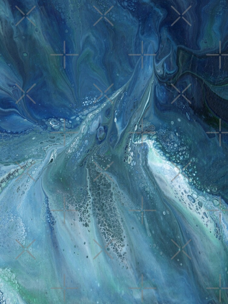 Wave Over Sandbank: fluid acrylic pour painting by kerravonsen
