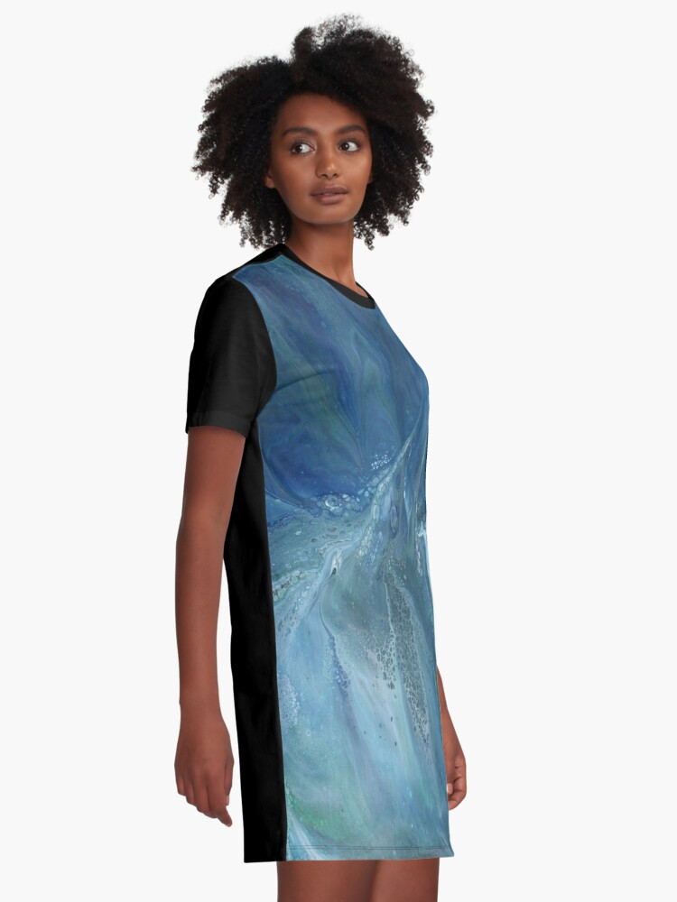 Alternate view of Wave Over Sandbank: fluid acrylic pour painting Graphic T-Shirt Dress
