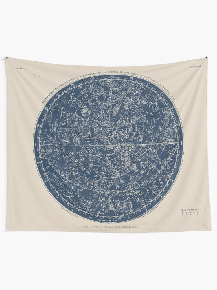 Alternate view of Constellations of the Northern Hemisphere Vintage Azure Blue Tapestry