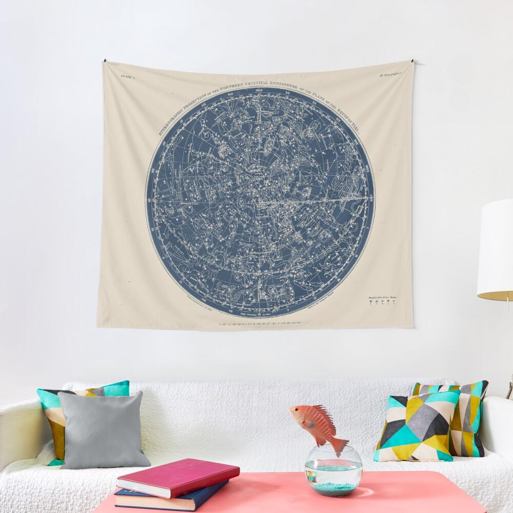 Constellations of the Northern Hemisphere Vintage Azure Blue Tapestry