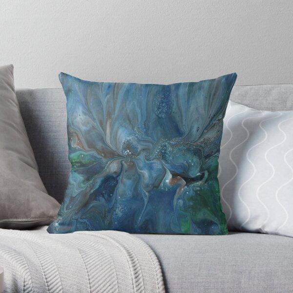 Crosscurrent: ocean river fluid art Throw Pillow