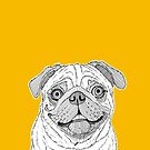 Pug Dog Portrait ( yellow background ) by Adam Regester