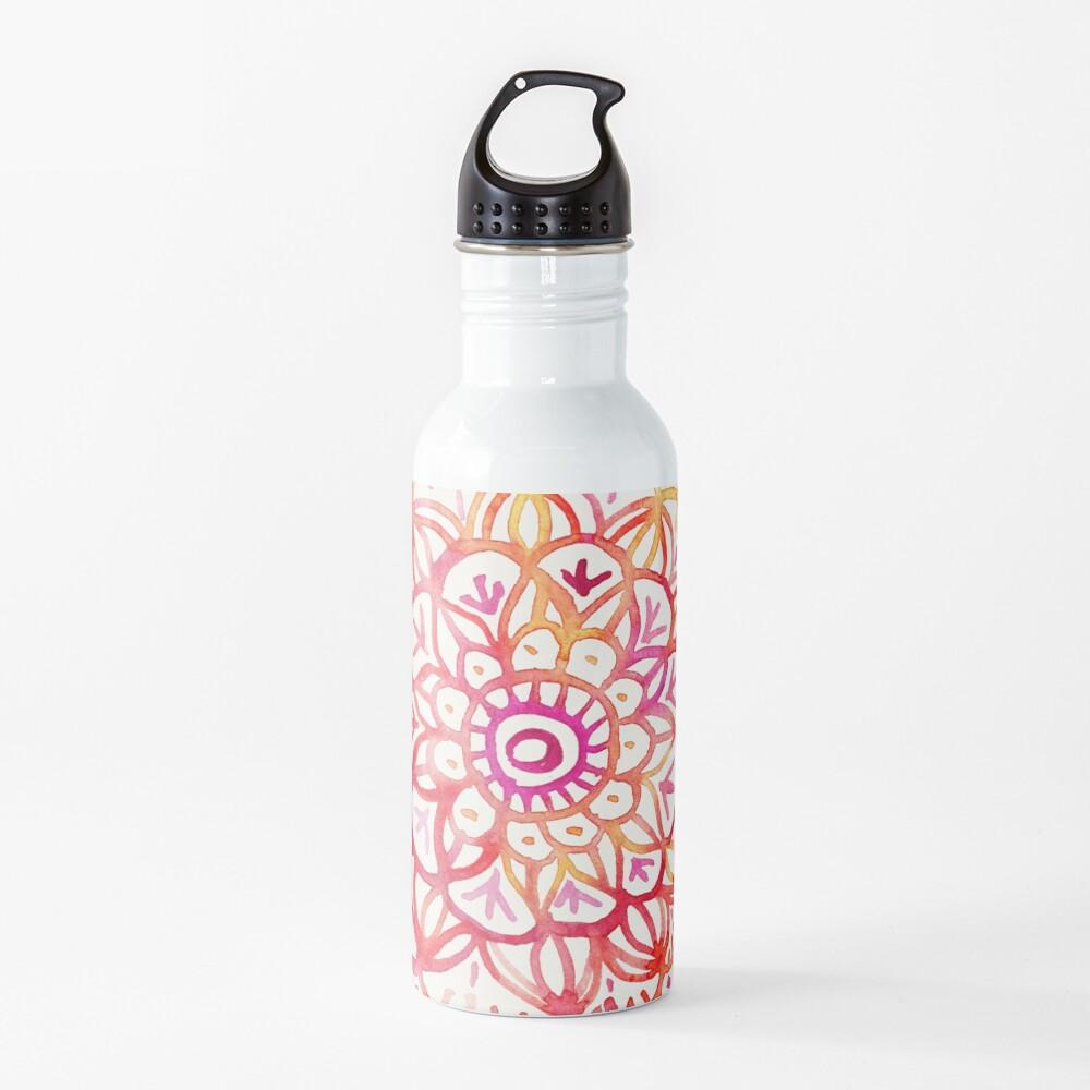 Aquarell Medaillon in den Farben des Sonnenuntergangs Trinkflasche