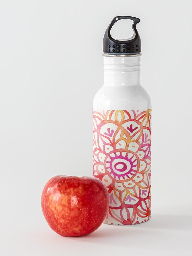 Alternative Ansicht von Aquarell Medaillon in den Farben des Sonnenuntergangs Trinkflasche