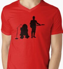 R2D2 C3PO Rock Band Mens V-Neck T-Shirt