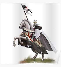 Templar on Rearing Horse (digitally coloured) Poster