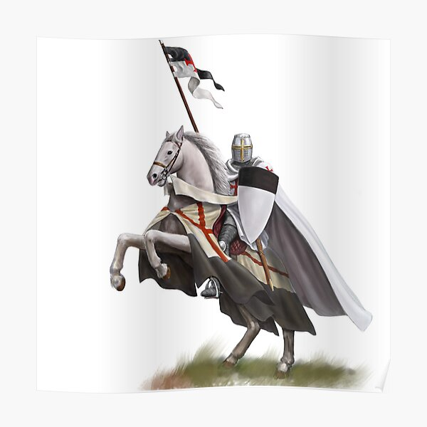 Templar on Rearing Horse (digitally coloured) Poster