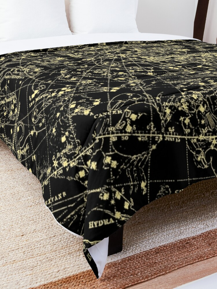 Alternate view of Astronomy Constellations Vintage Art Map, Mythology Astrology Stars Galaxy Universe Cosmos Comforter