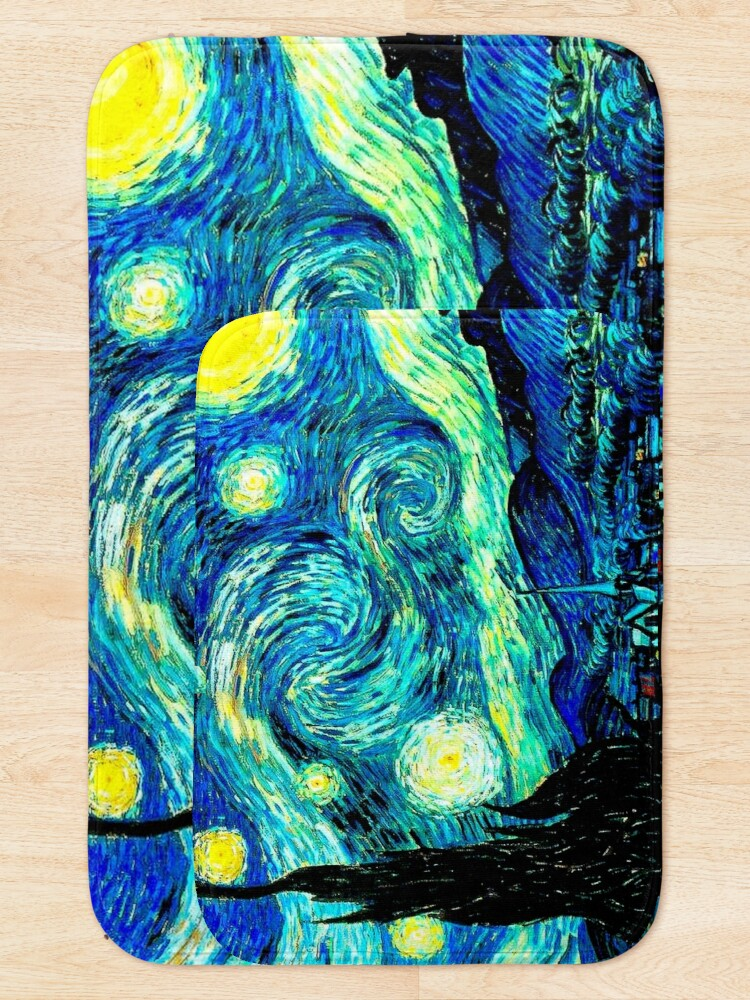 Alternate view of STARRY NIGHT: Vincent Van Gogh Famous Painting Print  Bath Mat