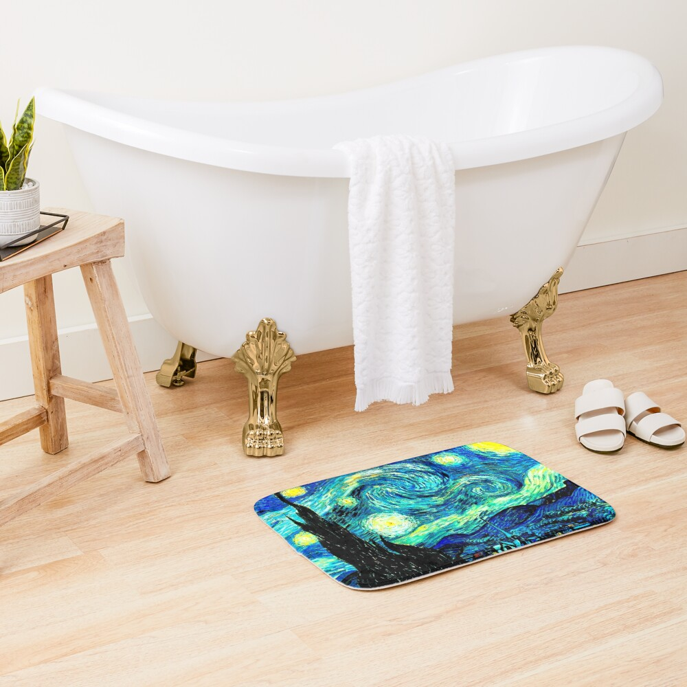 STARRY NIGHT: Vincent Van Gogh Famous Painting Print  Bath Mat