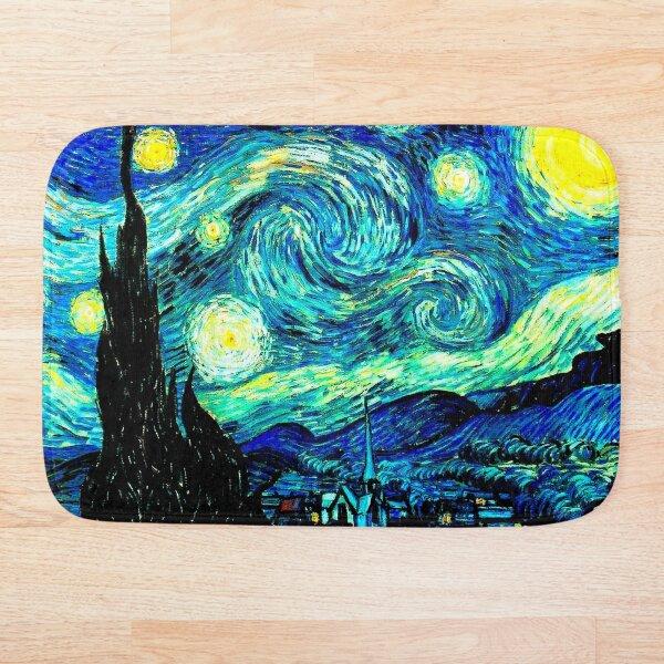 STARRY NIGHT: Vincent Van Gogh Famous Painting Print  Bath Mat