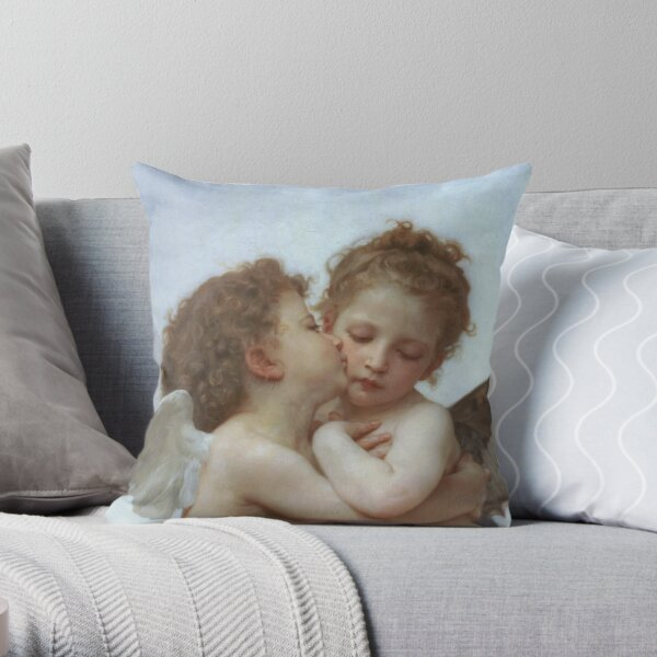 Lamour and Psyche Children – (William Adolphe Bouguereau) Throw Pillow