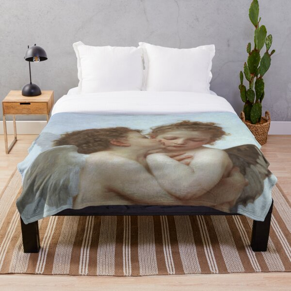 Lamour and Psyche Children – (William Adolphe Bouguereau) Throw Blanket