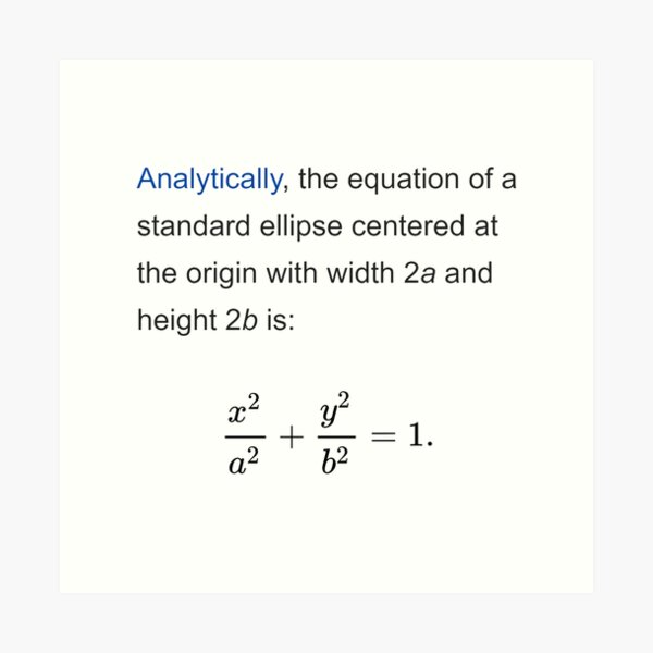 Equation of a standard ellipse centered at the origin with width 2a and height 2b Art Print