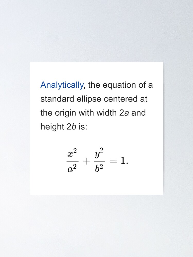 Alternate view of Equation of a standard ellipse centered at the origin with width 2a and height 2b Poster