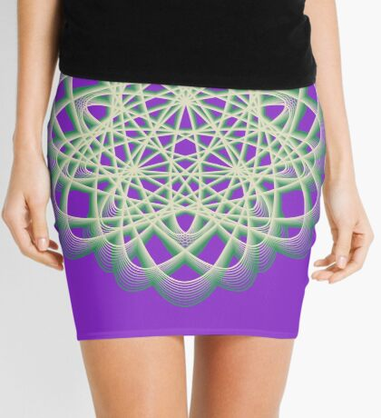 Abstract Sea Green Spiral Lines Mini Skirt