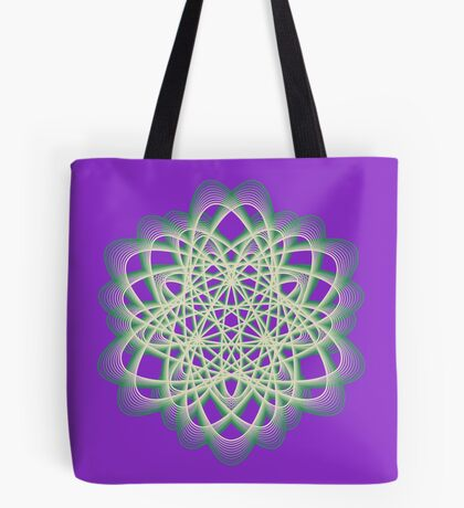 Abstract Sea Green Spiral Lines Tote Bag