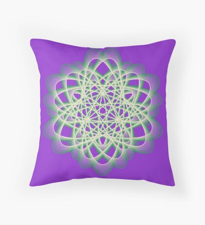 Abstract Sea Green Spiral Lines Throw Pillow