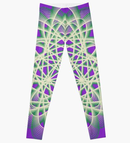 Abstract Sea Green Spiral Lines Leggings