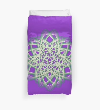 Abstract Sea Green Spiral Lines Duvet Cover
