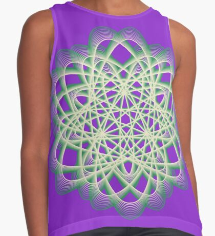 Abstract Sea Green Spiral Lines Sleeveless Top