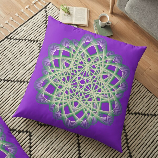 Abstract Sea Green Spiral Lines Floor Pillow