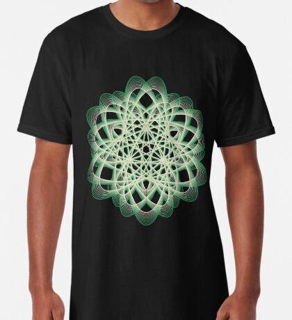 Abstract Sea Green Spiral Lines Long T-Shirt