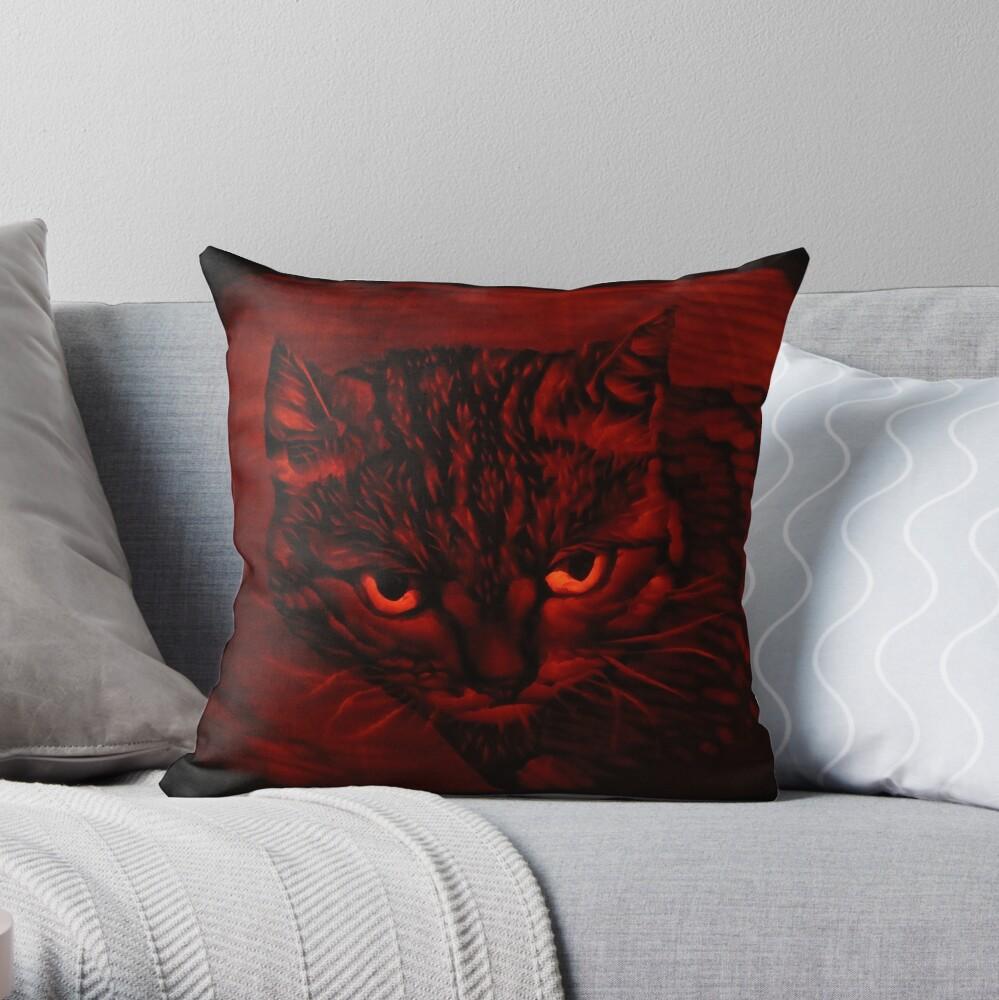 Toast the Tabby Cat on a Pumpkin Throw Pillow