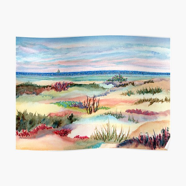 Long Beach Island Dunes, Jersey Shore. From watercolor painting by Pamela Parsons Poster
