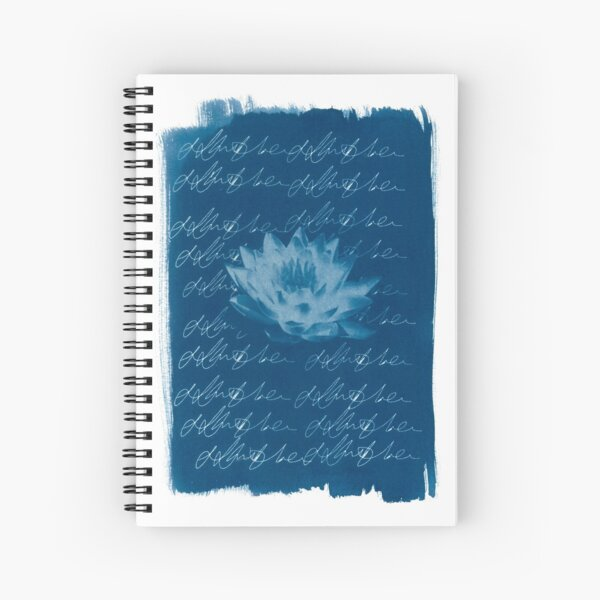 Blue Lotus Cyanotype Print Spiral Notebook