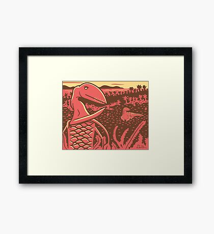 Dimorphodon and Scelidosaurus Framed Print